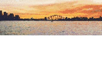 Sunset over Sydney Harbour cross-stitch pattern