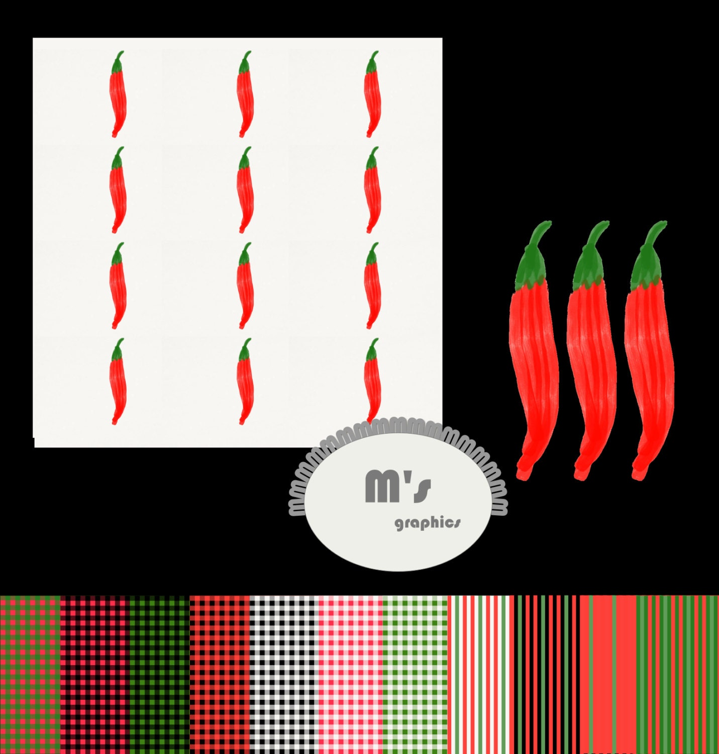 Red Hot Chili Pepper Digital Paper Pack. Oil Paint. Spoons Fork ...