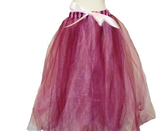 Elegant Burgandy and Pink Sewn Tutu Dress
