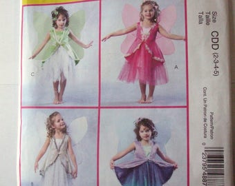 McCall's M4887 Fairy Costume Pattern with Wings for Girls Toddler UNCUT Size 2, 3, 4, 5