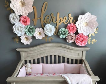 Nursery PAPER FLOWERS SET. 2 giant, 2 medium, 9!!! small flowers. Perfect for decorating a backdrop or wall. Blush pink/pinks/gold