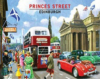 Princes Street, 1960's Edinburgh City Retro Scottish Bus, Small Metal/Tin Sign