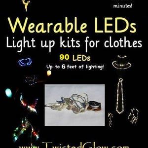 Make an LED Costume in minutes! Rechargeable, 4-mode DIY LED kit for clothes, up to 6 feet of lights, you can attach these LEDs to anything!