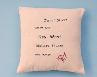 Key West pillow, Blue Heaven,  Mallory Square, Key West rooster Pillow