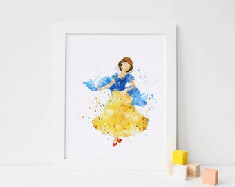 Snow White print, disney princess Watercolor, Art Print, Nursery Wall decor girl Print Princess art, snow white gifts, snow white printable