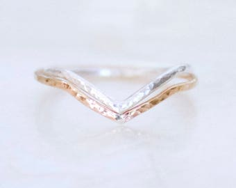 Chevron Hammer Faceted Band Sterling Silver 14kt Yellow Rose Gold Fill Stacking Wedding Promise Midi Fitted Toe Ring Eco Friendly Recycled