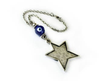 Car rear view mirror charm, Car accessories, Ornament, Hanger, Dangler, Car Decor, Evil Eye Protection, Metal Star Charm, New Car Gift