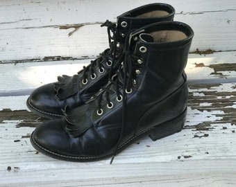 Justin Junior Roper Boots Black Leather/Youth Size 4.5 D/Cowboy Cowgirl/Lace Ups/Removable Kiltie/Horseback Riding/Rodeo/County Fair
