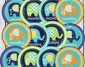 MONTHLY IRON-ONS or Monthly stickers for Baby boy - Elephants Blue, Orange, Green (Style#B03)