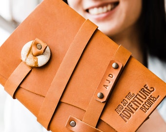 SALE 50% OFF!!! Adventure Begins Journal Refillable Leather Journal Notebook...Sale TODAY...Made in Portland