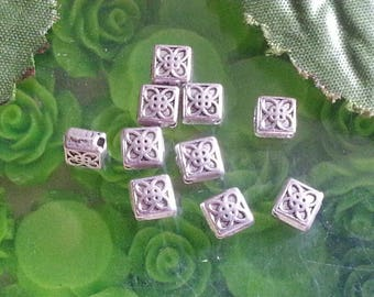 10 Tibetan silver beads, lead free and nickel and cadmium free, about 6 mm long, 6.5 mm wide, 3 mm thick, hole:
