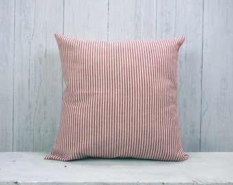 Ticking Stripe, Farmhouse Pillow, Farmhouse Decor, Pillow Cover, Organic Cotton, Throw Pillow, Red and White, 22x22, Custom Pillow Cover