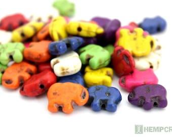 24pc Elephant Beads, 15x11mm Colorful Stone Howlite Elephant Beads, Stone Beads