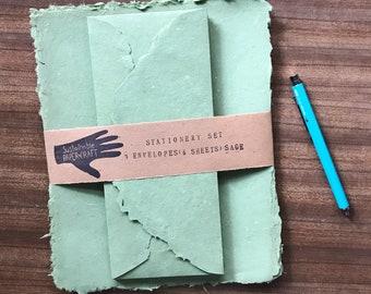 Stationary Set - Sage Green Handmade Paper