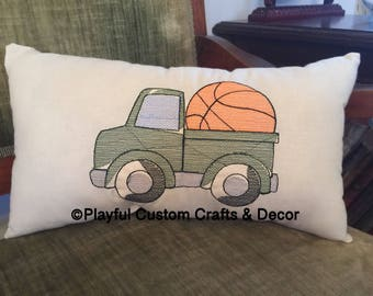 Vintage Green Truck w/Basketball Sketch  Embroidered Decorative Throw Pillow