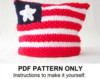 Knitting Pattern - American Flag Hat Pattern - Hat Knitting Pattern - the BETSY Hat (Newborn Baby Toddler Child & Adult sizes incl'd)