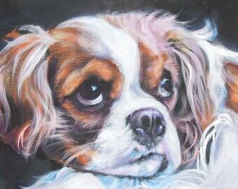 "CAVALIER King Charles Spaniel dog art PORTRAIT canvas PRINT of LAShepard painting 11x14"""