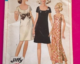 Vintage 1960's Simplicity Pattern isses Jiffy Dress in 2 lengths Misses Size 12 Bust 32 7384
