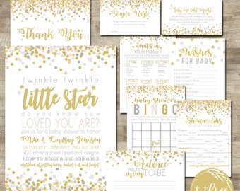 Twinkle Twinkle Little Star Baby Shower Package, Baby Shower Invitation  Package, Gender Neutral Baby