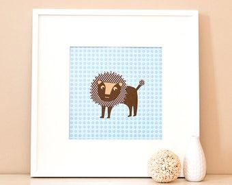 Modern Children's Paper Wall Art - Lion Watching – 12 x 12 – Blue and Brown