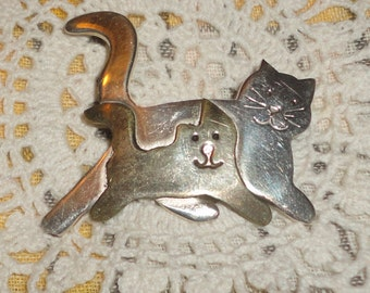 Cat and Kitten 925 and Brass Brooch, Cat Lovers**