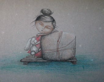 Kayla on water - original drawing framed, signed, dated, based on an illustrated album project