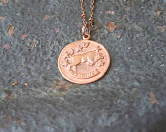 Vintage Copper TAURUS Astrological Sign Astrology Bull Charm Necklace