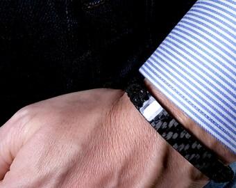 Pure Carbon Fiber Bracelet, Autosport Bracelet, Man Bracelet, Sport Bracelet, Modern Bracelet, Gift for Men, Automotive, Macrame Bracelet