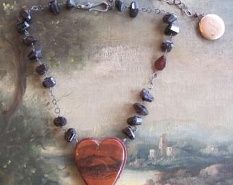 Mauchline Ware Heart Pincushion Necklace