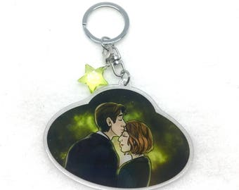 X-Files Mulder Truth is out there Scully shipper keychain with space and star charm bead