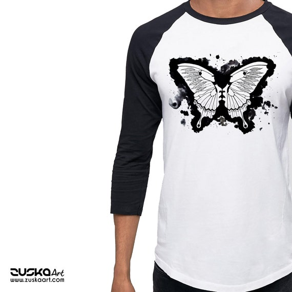 Butterflies in my stomach | Unisex Raglan T-Shirt | Metamorphosis | Kissing faces | Sacred feathers | Native american art | ZuskaArt