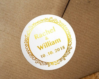 Personalized Gold Foil Wedding Labels, Personalized Sticker Labels, Wedding Sticker, #04