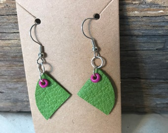 Green and Pink Upcycled Leather Drop Earrings