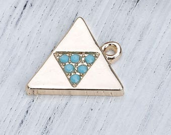 """2 """"Triangle"""" Golden charms and rhinestone Turquoise 1.7 cm"""