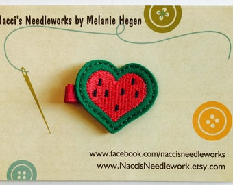 Felt Hair Clip - Watermelon Heart Hair Clip - Green Heart Clip - Girls Hair Accessory