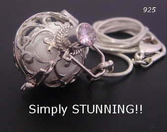 Sterling Silver Harmony Ball with White Chime Ball and Pink Quartz Gemstone on 925 Cage | Bola Necklace, Pregnancy Gift, Angel Caller 505