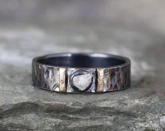 Men's Raw Diamond Ring - Black Sterling Silver - 14K Yellow Gold Accent Bars - Rustic Texture - Wedding Band - Commitment Rings