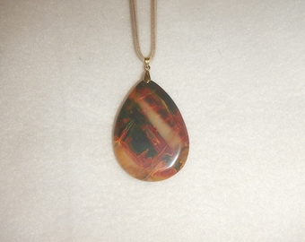 Teardrop-shaped Multi-colored Picasso Jasper pendant necklace (JO421)