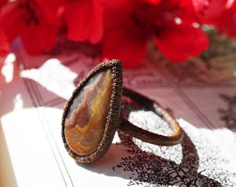 Crazy Lace Agate Ring, Copper Ring Size 7, Electroformed Ring, Brown Crystal Ring Handmade, Electroformed Copper Jewelry, Brown Agate Ring