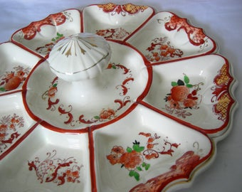 Large Floral Motif 9 Section Condiment Tray Platter | Hand Painted | Vintage