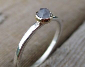 Light Lavender. Sterling Silver and 14k Gold. Lavender Blue Rose-Cut Chalcedony.  Unconventional Engagement Ring