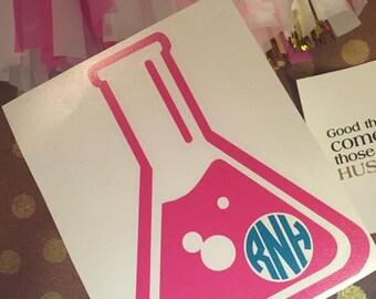 Lab Monogram – Flask Monogram Decal – Science Monogram - Chemistry Monogram – Vinyl Decal