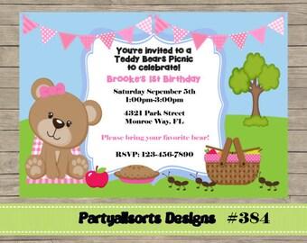 384 DIY - osos de peluche tarjeta invitación fiesta de Picnic.
