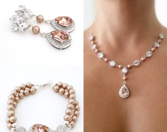 Rose Gold Bridal Jewelry Set, Blush Earrings and Bracelet Set, Champagne Pearl Wedding Jewelry Set, Rose Quartz Earrings and Necklace Set