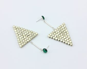 Silver Triangle Beaded Earrings, Created with Brick Stitch with Vintage Emerald Green Rhinestone Studs, Handmade Jewelry by Detail London.