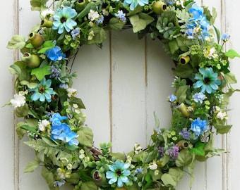 Summer Wreath, Spring Wreath, Everyday Wreath, Front Door Wreath, Wreath, wreathes, Blue Wreath, Outdoor Wreath, Artificial Wreath, Summer