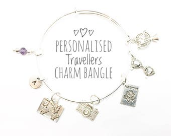 Travel Charm Bangle, Personalised, Gift for Going Overseas, Gift for Traveller, Holiday Lover Charm Bangle, Good Luck on your travels