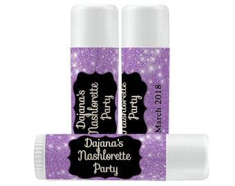 Personalized Lip Balm Labels - Lavender Glitter Bachelorette Party labels -  1 Sheet of 12 Lip Balm Labels - Custom Lip Balm Labels