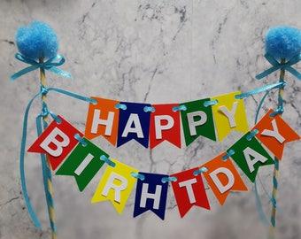 Happy Birthday Cake Topper Bunting, Pompom Theme, Cake Decor