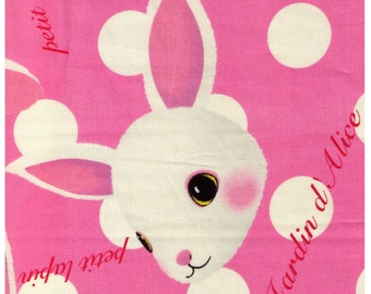 HALF YARD  - Alice in Wonderland - Petit Lapin on Pink with White Dots - Japanese Import